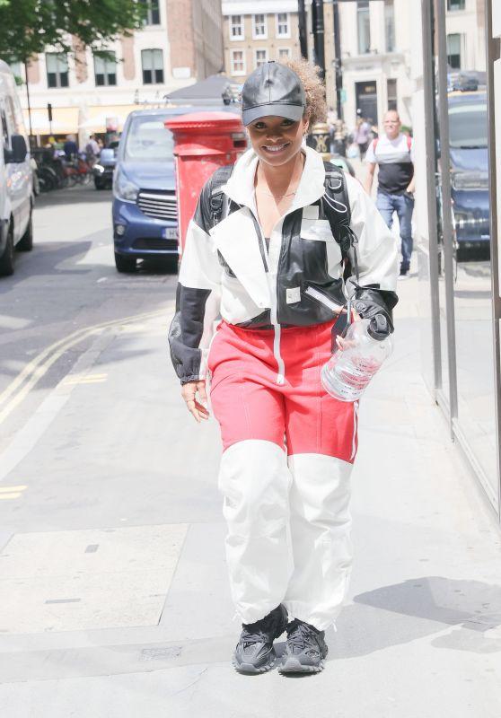 Fleur East in a Casual Sports Suit - London 06/23/2021