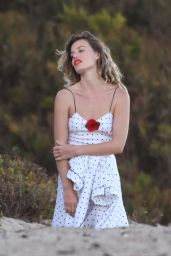 Georgia May Jagger in a Cute Black and White Polka Dot Dress - Photoshoot in Malibu 06/21/2021