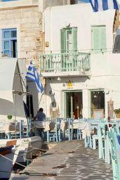 Hailey Rhode Bieber and Justin Bieber at a Restaurant on a Greek Island 06/28/2021