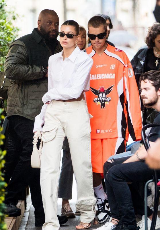 Hailey Rhode Bieber and Justin Bieber - seen leaving the Dinand par Ferdi Restaurant in Paris 06/20/2021