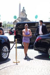 Hailey Rhode Bieber in a Lilac Mini-Skirt and Matching Tank Top - Paris 06/21/2021