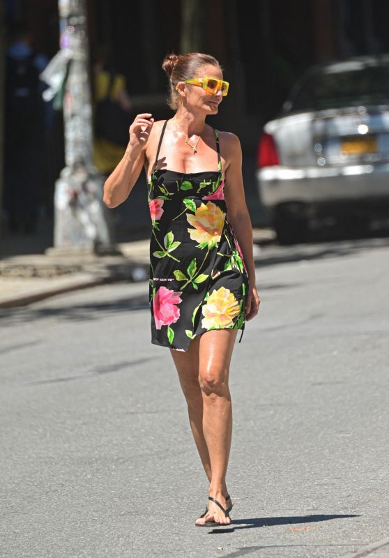 Helena Christensen in a Floral Mini Dress - NYC 06/16/2021