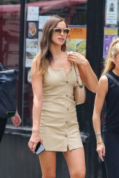 Irina Shayk in a Beige Mini Dress - New York 06/02/2021