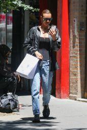 Irina Shayk in Laced Bodysuit and Denim - NYC 06/16/2021
