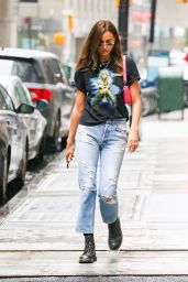 Irina Shayk Wears a Vintage Black Tee, Torn Jeans and Black Leather Boots - NYC 06/03/2021