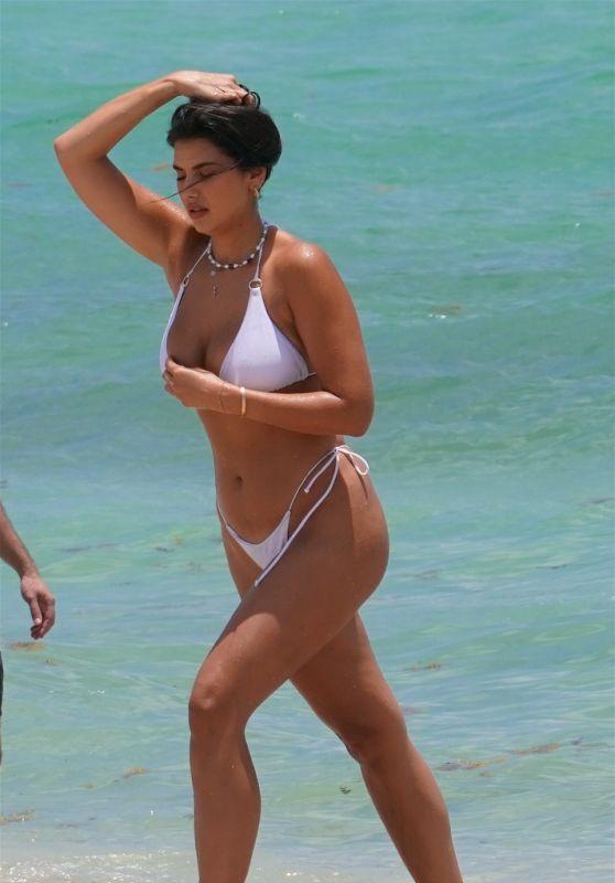 Jehona Dreshaj in a White Bikini in Miami 06/05/2021