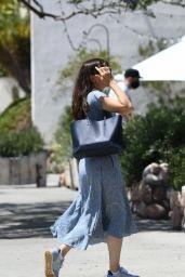 Jennifer Garner in a Blue Floral Dress - Brentwood 06/22/2021