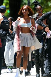 Justine Skye - Filming a Music Video in NY 06/23/2021