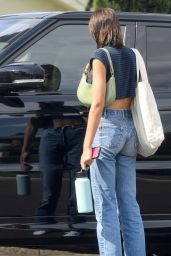 Kaia Gerber in Jeans and a Striped Crop Top - Chino 06/17/2021
