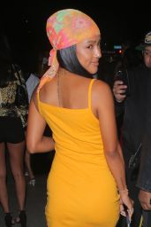 Karrueche Tran in a Yellow Dress and Bold Head Scarf at the Highlight Room in West Hollywood 06/09/2021