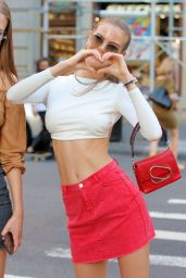 Kate Demianova Wears a White Crop Top and Red Mini Skirt - NYC 06/05/2021
