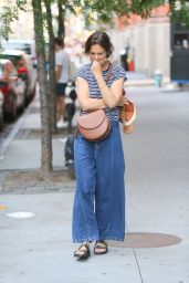 Katie Holmes in Jeans and a Striped T-shirt - NY 06/26/2021