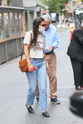 Katie Holmes Street Style - Wears Blue Jeans and Leather Loafers - New York 06/12/2021