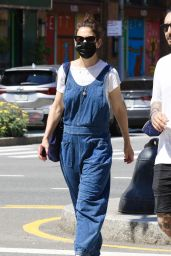 Katie Holmes Wears Blue Overalls - New York City 06/05/2021