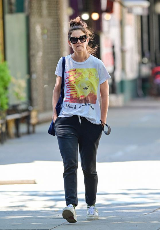 Katie Holmes Wears MADONNA Blonde Ambition World Tour 1990 Tee and Sweat Pants - NYC 06/17/2021