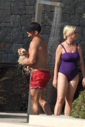 Katy Perry in a Purple Swimsuit - Greece 06/18/2021