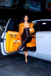 Kim Kardashian Wearing a Vintage 2000 Christian Dior Dress, YEEZY Season 3 Shearling Jacket, Hermes Kelly Mini Handbag and Manolo Blahnik Heels - LA 06/25/2021
