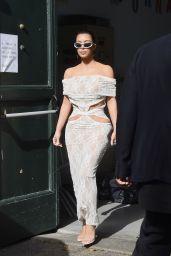Kim Kardashian Wears Off-the-shoulder White Lace Cut-out Dress - Rome 06/29/2021
