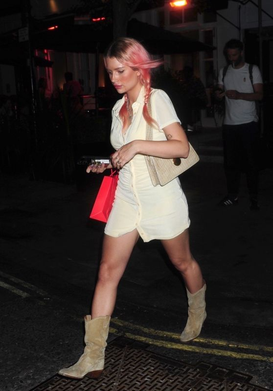 Lottie Moss in a Mini Buttoned Up Dress - Christabel's in London 06/10/2021