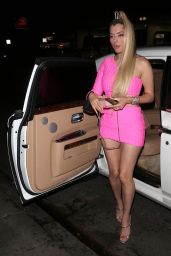 Mandana Bolourchi in a Pink Mini Dress at Delilah Night Club in West Hollywood 06/04/2021