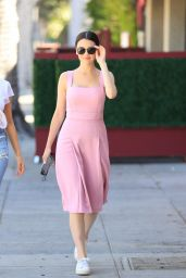 Maya Henry in a Pink Dress at Matsuhisa in West Hollywood 06/16/2021