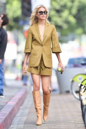 Meredith Mickelson in a Summery Olive Green Linen Shorts Suit with Tan Knee High Boots - Photoshoot in LA 05/31/2021