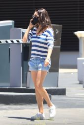 Mila Kunis Wears Stripes and Jean Shorts - Beverly Hills 06/13/2021