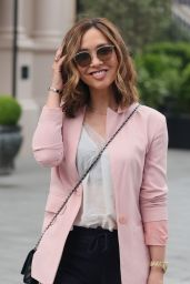 Myleene Klass in a Chic Pink Blazer and Striped Trousers - London 06/04/2021