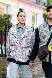 Nathalie Emmanuel With Beau Alex Lanipekun in London
