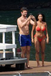 Nicole Scherzinger in a Red Bikini in Italy 06/29/2021