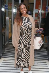 Oti Mabuse in Striped Dress - London 06/05/2021