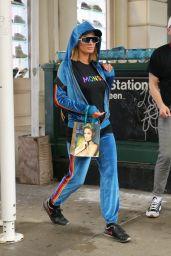 Paris Hilton in a Blue Velvet Track Suit and Monse T-shirt - NYC 06/22/2021