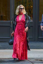Paris Hilton in an Elegant Floral Dress - New York City 06/22/2021