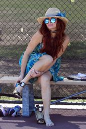 Phoebe Price in a Turquoise Sunflower Dress at the Tennis Courts in LA 06/01/2021