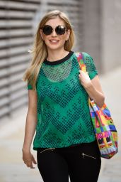Rachel Riley in a Tight Fitted Green Top at Media City in Salford 06/08/2021