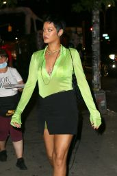 Rihanna Wearing a Sheer Lime Green Top and a Black Skirt - The Bowery Hotel in NY 06/28/2021
