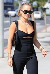 Rita Ora in a Black Jumpsuit - Los Angeles 06/02/2021