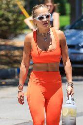 Rita Ora in a Bright Orange Gym Ready Outfit - Los Angeles 06/13/2021