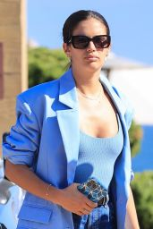 Sara Sampaio in Cutoff Denim Shorts and a Blue Blazer at Nobu in Malibu 06/05/2021