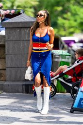 Tayshia Adams in a Multicolored Dress and Knee High White Boots - NYC 06/23/2021
