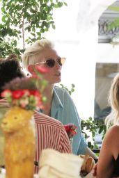 Tilda Swinton Kisses Her Partner Sandro Kopp - Santalucia Restaurant in Rome 06/26/2021