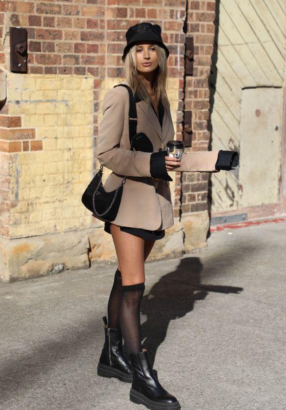 Tori Levett at Afterpay Australian Fashion Week Street Style in Sydney 06/02/2021