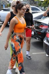 Vanessa Hudgens in Orange Workout Gear - West Hollywood 06/29/2021