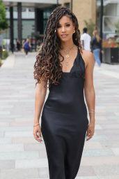 Vick Hope in Black Satin Dress - London 06/06/2021