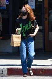 Zoey Deutch in a Black Graphic Tee and Jeans at Alfred Coffee in LA 06/14/2021