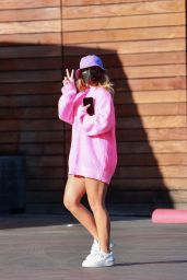 Addison Rae in Pink Shopping at Maxfield's in West Hollywood 07/20/2021