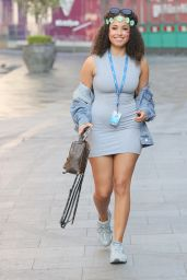 Amber Gill in a Grey T-shirt Dress and Flowers for Capital Radio