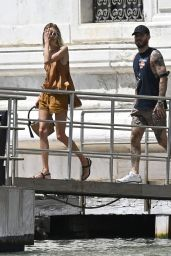 Anja Rubik in a Tanned Brown Matching Top and Shorts- Venice 07/14/2021