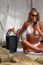 Arabella Chi in a White Prettylittlething Bikini - Beach in Ibiza 07/11/2021