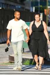Ashley Graham With Husband Justin Ervin at the Greca in Tribeca, New York 07/19/2021